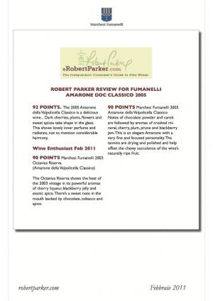 Robert Parker review for Fumanelli Amarone Doc Classico