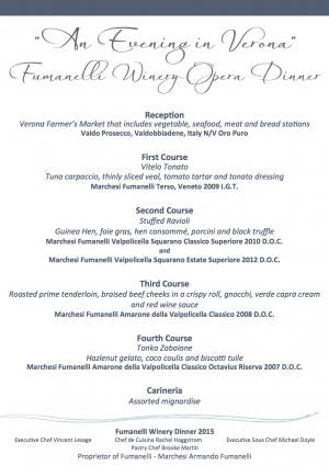 Fumanelli Wine Opera Dinner in Balboa Feb. 20th 2015