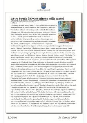 Le tre Strade del vino offrono mille sapori - pubblicazione su giornale Arena